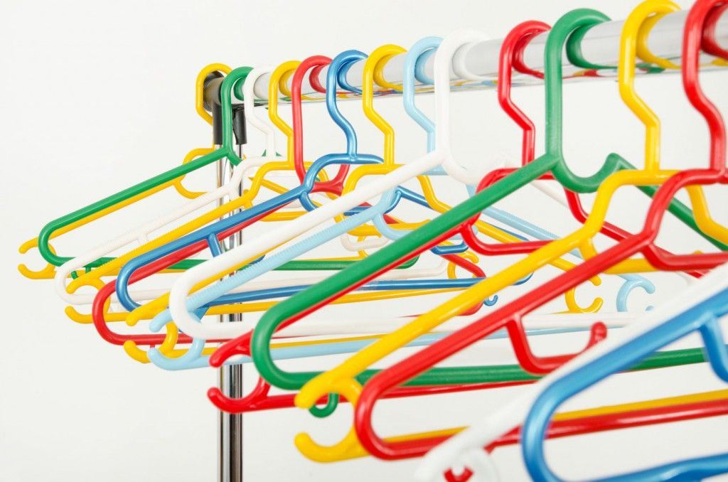 multi coloured clothes hangers