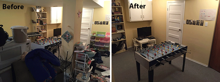 Before and after photo of basement organizing
