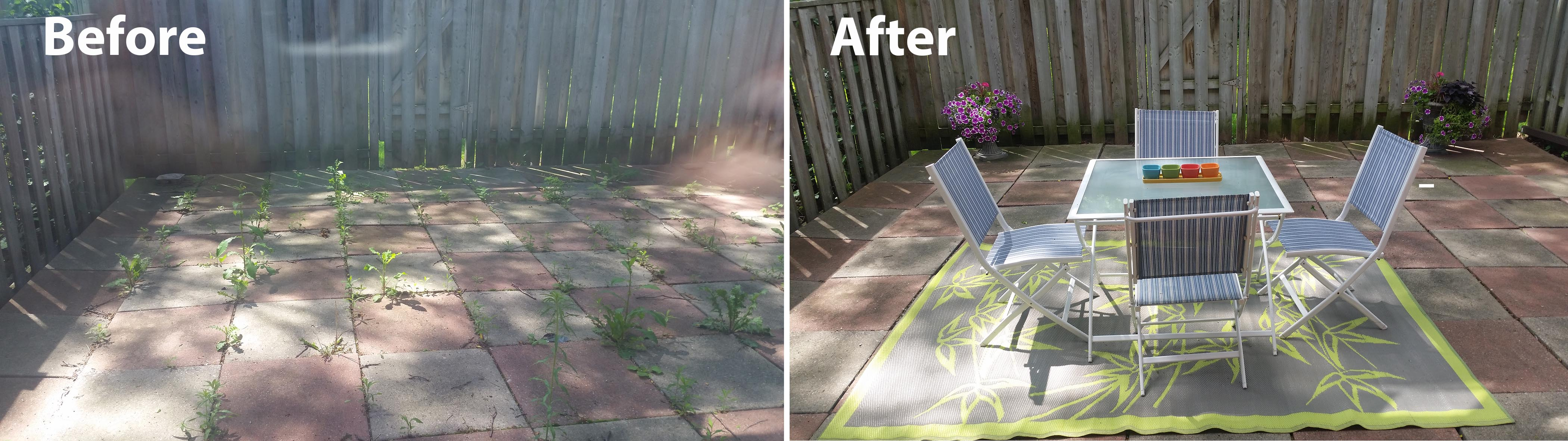 Back patio was cleaned up, weeds removed and furniture added for staging