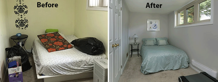 Staging Before and after photo of bedroom