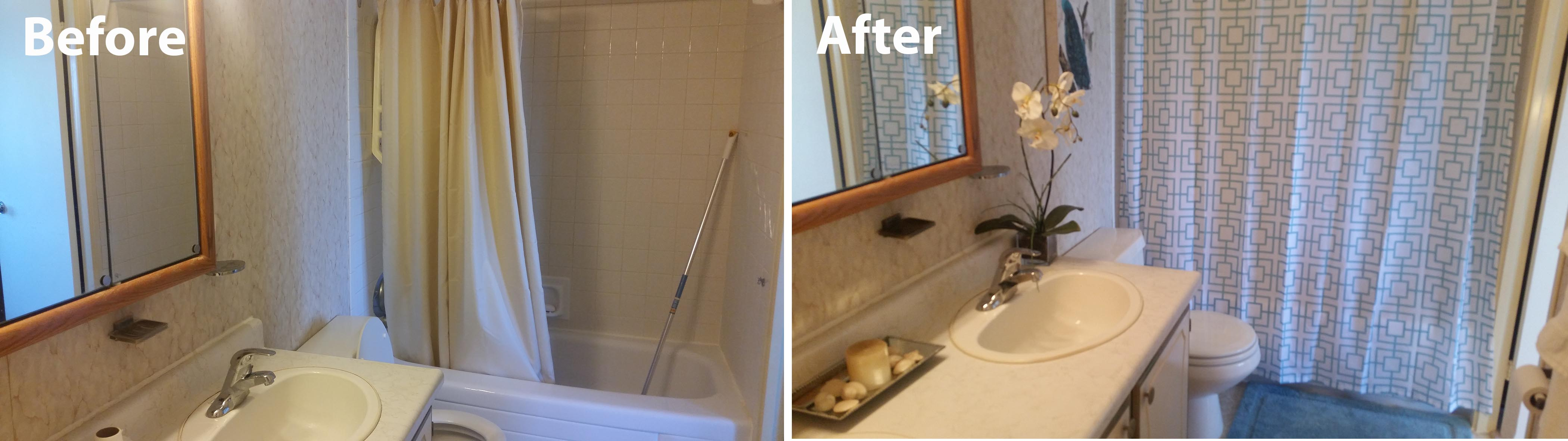 Bathroom staged with updated colours and accesssories