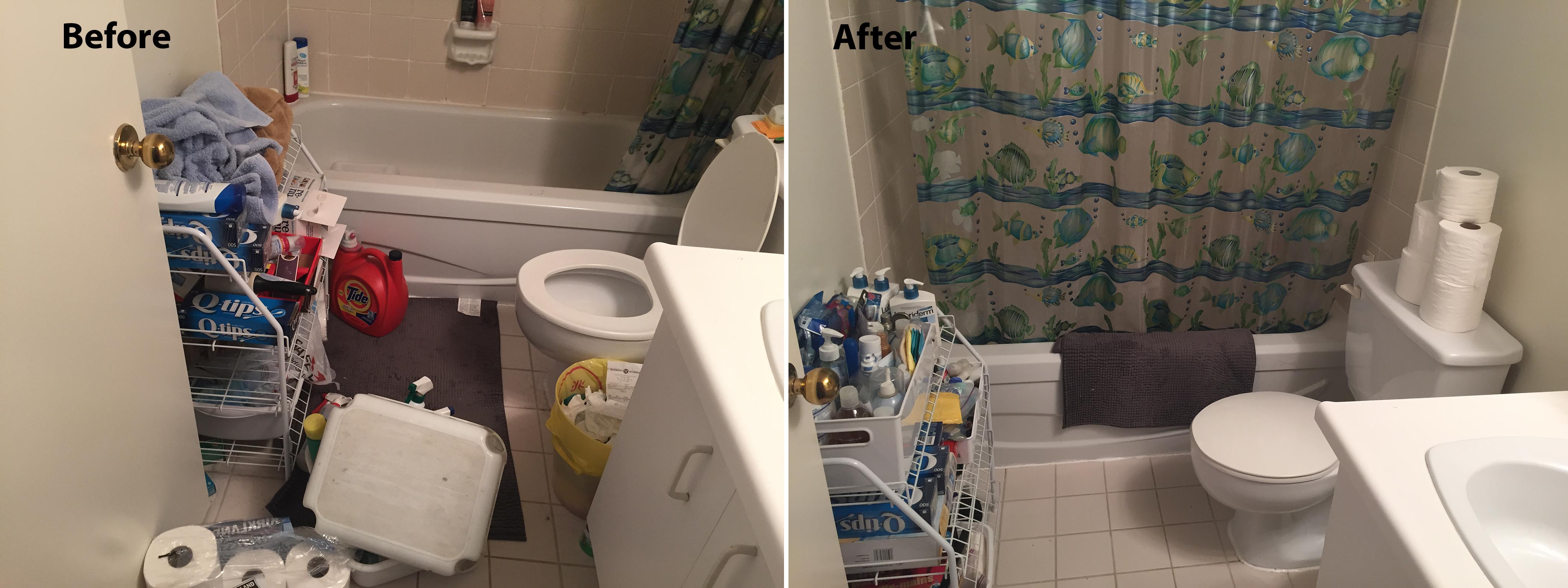 before and after photo of an organized and decluttered bathroom