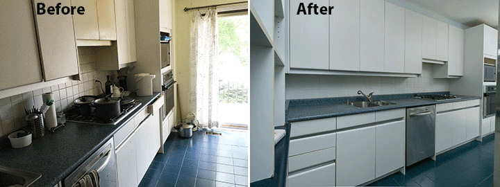 Home staging kitchen before and after photo