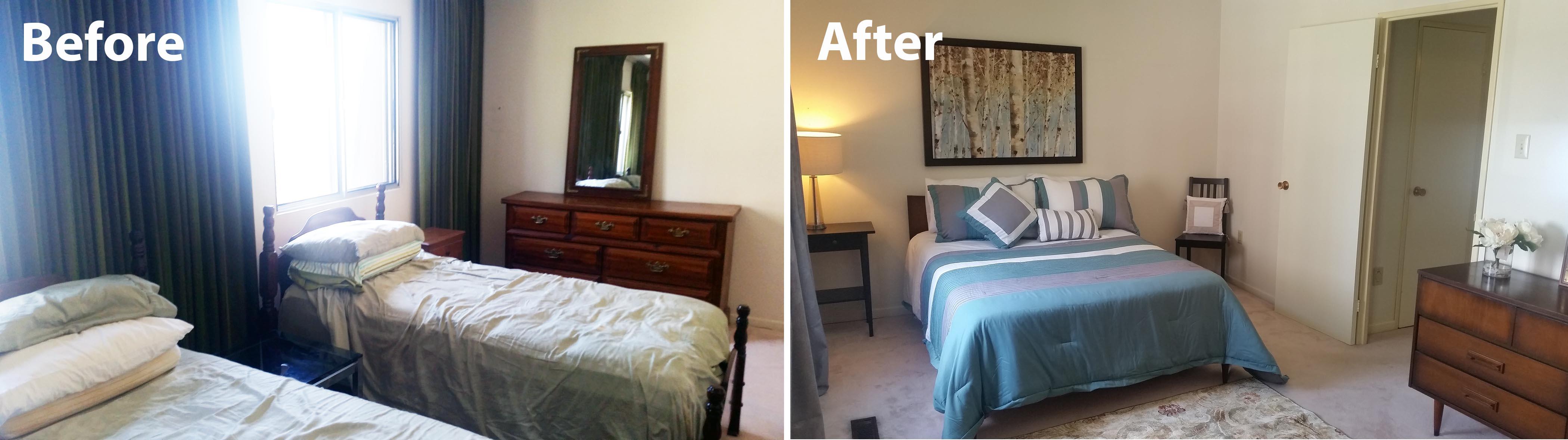Master bedroom staged for sale