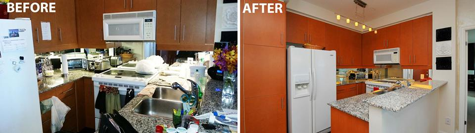 Before & after photo of kitchen