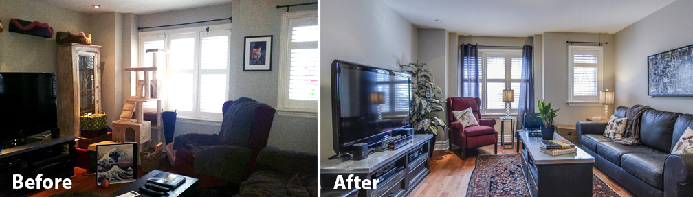 Before and after photo of a family room
