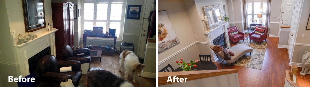 before and after photo of living room