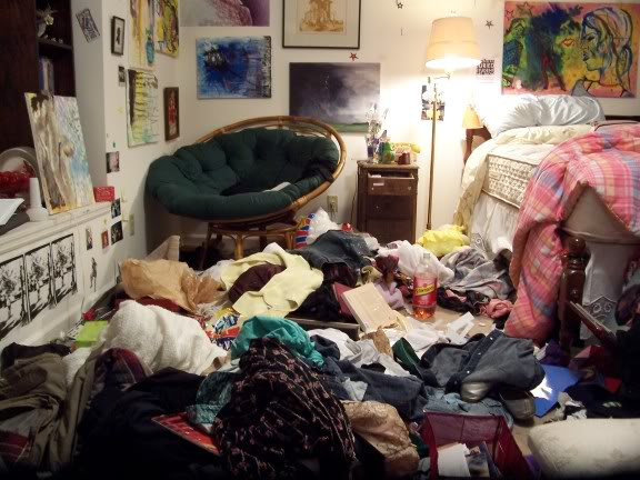 cluttered bedroom