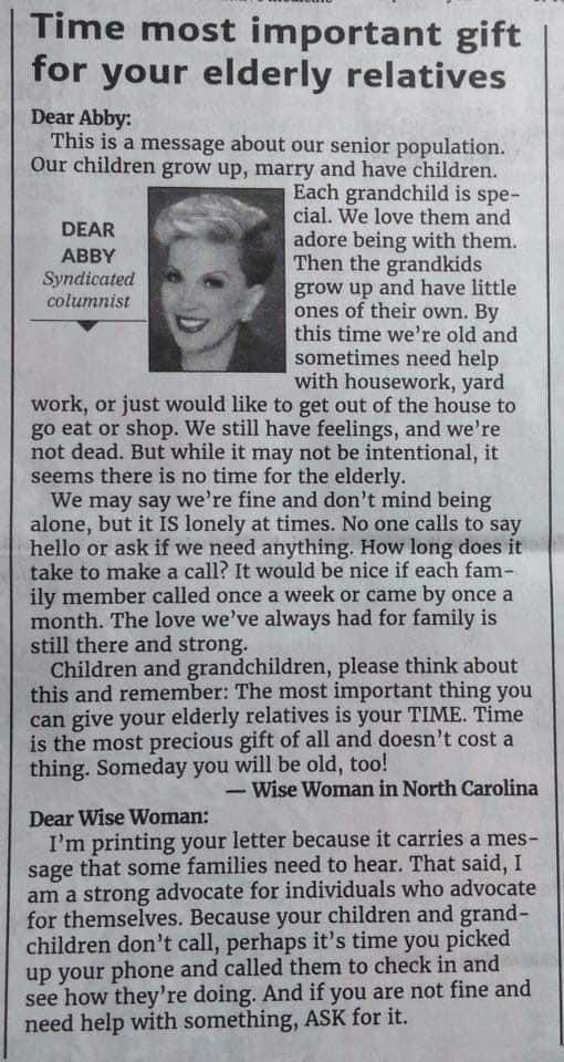 Dear Abby advice column for gifts
